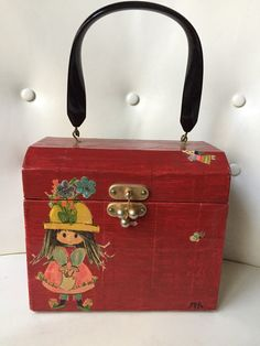 Vintage 60s Box Purse Red Laquered Decoupage Shabby Chic Brown Haired Girl  in Garden Girls Bags 08626141a562b