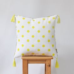 NEW Decorative Pillow Modern Yellow Gray Pillow by LoveJoyCreate