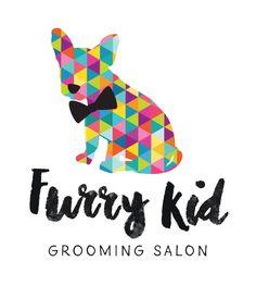 geometric logo design dog bow tie furry kid grooming salon sail and swan branding adelaide australia