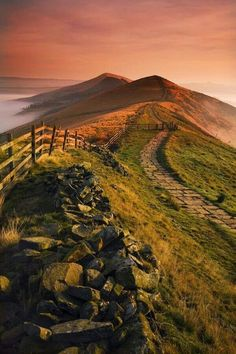 Mam tor at dawn. Peak District England.