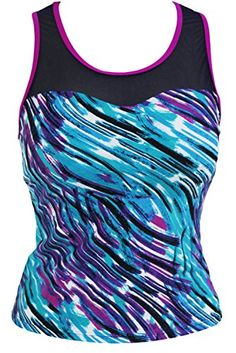 fef149caba1d8 Womens Stripe Print Mesh Splice Sports leisure Tankini Top swimsuit L1214  Purple    Find out