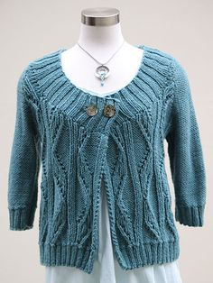 Love the neckline! Free knitting pattern for Cosima Knit Cardigan - sizes XS, S, M, L, XL, 1X, 2X