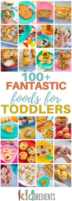 Over 100 fantastic foods for toddlers! Yummy, freezer friendly, and kid approved recipes to keep your toddler interested in food. The best toddler food list ever! Toddler Finger Foods, Healthy Toddler Meals, Toddler Lunches, Kids Meals, Healthy Cooking, Baby Finger, Toddler Dinners, Meals For Children, Healthy Lunch For Toddlers