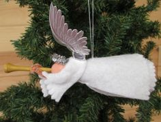 Flying Angel Christmas Ornament Herald Angel by ModerationCorner
