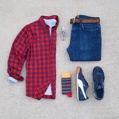 Shirt: @HollisterCo Denim: @jcrew Belt: @fossil Shoes: @puma