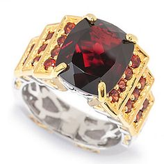 Gems en Vogue 7.41ctw Cushion Cut Mozambique Garnet Tiered Ring