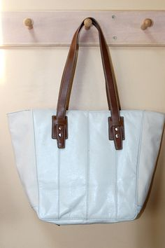 Nine West Large Ivory and Brown Leather Tote Bag by pursenbootz