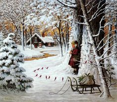 Charles Wysocki - beautiful with those little cardinals listening to the music ...