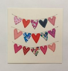New Diy Wedding Cards Handmade Crafts Valentines Day 49 Ideas Fabric Cards, Fabric Postcards, Paper Cards, Diy Cards, Embroidery Cards, Free Motion Embroidery, Valentine Day Cards, Valentine Crafts, Mothers Day Cards