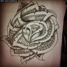 Dollar Bill Rose Tattoo