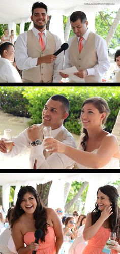 Photography by McLaughlin Photo & Video.  Coconut Palm Inn Wedding #WeddingToasts #FloridaKeysWedding #FunWedding