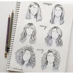 to draw straight wavy curly hair different sides angles perspectives views o., How to draw straight wavy curly hair different sides angles perspectives views o., How to draw straight wavy curly hair different sides angles perspectives views o. Drawing Techniques, Drawing Tips, Drawing Reference, Hair Styles Drawing, Curly Hair Drawing, Drawing Hair Tutorial, Design Reference, Sketching Tips, Hair Reference