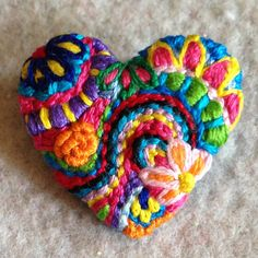 small freeform embroidery heart brooch bright floral  48 ...Something to make my heart happy...
