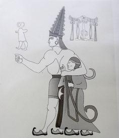 Drawing of the God Sharruma and King IV Tudhaliya, Gallery B. Yazilikaya Hittite Sanctuary. Harissa, Turkey. Figure from the Uranus Guide