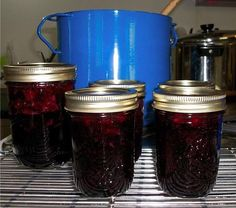 Blueberry-Cherry Jam from Food.com:   I got this recipe from an internet search. It said it was exported from MasterCook from Kraft General Foods. It is very easy to make and is excellent jam. The recipe called for sour cherries, but I used sweet ones and it turned out wonderfully. Very nice blend of flavors.