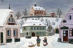 Czech christmas cards - Josef Lada Children's Book Illustration, Illustrations, Primitive Painting, Photography Supplies, Christmas Scenes, Christmas Cards, Great Paintings, Naive Art, Winter Landscape