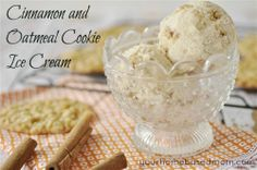Cinnamon and Oatmeal Cookie Ice Cream. I guess I need to invest in an ice cream maker! Frozen Drink Recipes, Frozen Desserts, Frozen Treats, Dessert Recipes, Ice Cream Cookies, Oatmeal Cookies, Cream Cake, Cinnamon Ice Cream, Cinnamon Oatmeal
