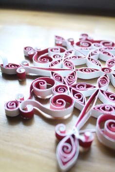 Paper quilling, Quilled Snowflake, Holiday, Christmas, Red and White by QuintQuilling on Etsy https://www.etsy.com/listing/247741095/paper-quilling-quilled-snowflake-holiday