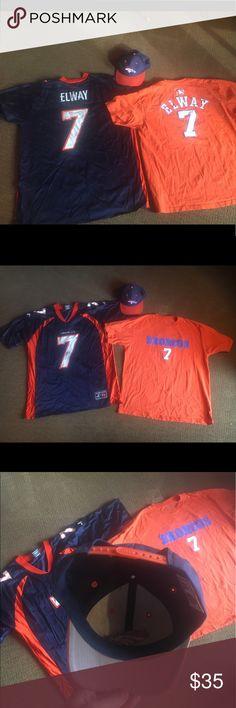 Denver Broncos John Elway Bundle Broncos Snapback in excellent condition. John Elway Jersey. John Elway T Shirt. Brand is Logo Athletic. Champion Shirts