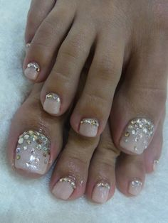 See more about toe nails, finger nails and wedding nails. bridalnail - - See more about toe nails, finger nails and wedding nails. Pedicure Designs, Manicure E Pedicure, Toe Nail Designs, Pedicure Ideas, Fancy Nails, Love Nails, Trendy Nails, Style Nails, Rhinestone Nails