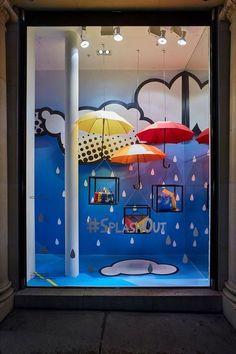April Showers - Retail Focus-Interior Design and Visual Merchandising Spring Window Display, Window Display Retail, Window Display Design, Retail Windows, Store Windows, Design Shop, Bar Design, Shop Front Design, Home Design