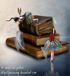 A New Adventure ©  Nicole Rae PARKER  (Artist. Berkeley, California) via DeviantArt.  Digital Art / Photomanipulation / Fantasy. Two fae discover books.
