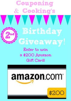 Couponing & Cooking $200 Amazon Gift Card Birthday Giveaway via www.julieseatsandtreats.com