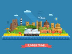 Summer Coast Town Landscape by Aliaksei Kruhlenia