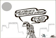 Forges viñetiza hoy (El País, 14-2-2013) esa fiebre de los políticos por enseñar sus declaraciones de renta. Como si ésa fuese la solución.