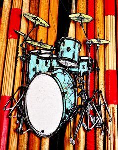 Drums on the Sticks  Musician Art  11 x 14 by ArtfulMusicianPRTLND, $30.00