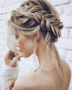 messy, lose dutch braided  updo #easyhairstylesforprom