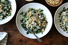 Farro with Greens, Tahini Sauce, and Toasted Pine Nuts Recipe on Food52, a recipe on Food52 Tahini Recipe, Tahini Sauce, Autumn Pasta Recipes, Fried Bread Recipe, Pine Nut Recipes, Vegetarian Recipes, Healthy Recipes, Healthy Meals, Ottolenghi Recipes
