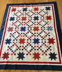 Red, White, and Blue Star Quilt top for Quilts of Valor project. Stars donated by Indianola Quilt Guild.