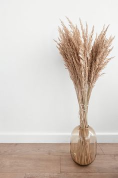 Photo of the pampas grass bouquet, the most trendy dried plant in interior design and decor, taken in neutral colors: white and beige tones. Will bring an aesthetic look to your projects. bedroom beige Glass Vase With Pampas Grass Bouquet Dried Flower Bouquet, Dried Flowers, Living Room Decor, Bedroom Decor, Lego Bedroom, Childs Bedroom, Bedroom Furniture, Grass Decor, Productive Things To Do