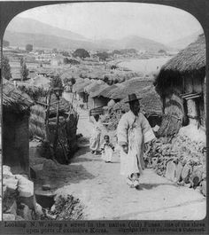 Looking NW Along A Street in The Old Town of Fusan, Korea  -1904