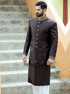 Omar Farooq Sherwanis | Dark brown sherwani outfit for groom