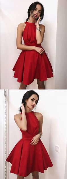 chic red stain short homecoming dresses for teens, cheap a line knee length graduation party dress, semi formal dress