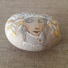 Spring ORIGINAL ART OOAK Hand Painted, Hand Gilded beach stone