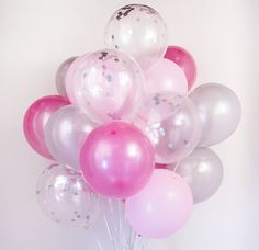 Check out this item in my Etsy shop https://www.etsy.com/listing/494844022/pink-silver-confetti-balloon-bouquet