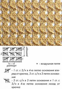 Picot Crochet, Crochet Stitches Chart, Crochet Motif Patterns, Crochet Cord, Crochet Stitches Patterns, Crochet Diagram, Knitting Stitches, Crochet Lace, Stitch Patterns