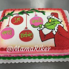 Grinch themed 1st birthday cake. Buttercream iced and decorated. Pink, red, green. You're a Mean One, Me. Grinch :)   Christmas. Ornaments. Cake.