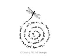 The Witches Rule of 3- dragonfly swirl saying- CLING RUBBER STAMP by Cherry Pie Art Stamps