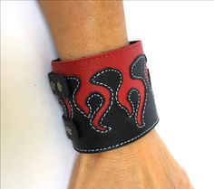 Red Flames Leather Bracelet Cuff Wristband Armband Wrist Braclets