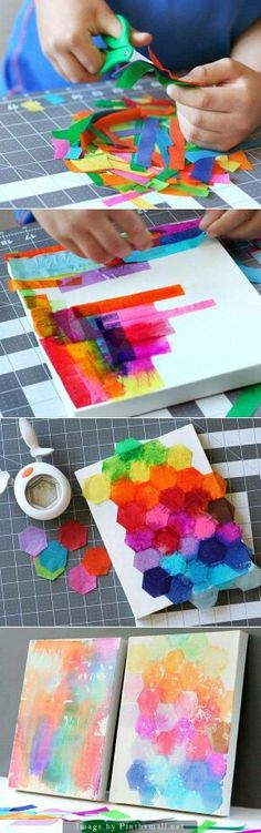 "Bleeding Tissue Paper Art - ""Painting"" with tissue paper is not only fun but beautiful! This craft requires bleeding art tissue instead of regular wrapping tissue. This specialty tissue can be found in craft stores. Easy Arts And Crafts, Fun Crafts, Diy And Crafts, Room Crafts, Recycled Crafts, Projects For Kids, Diy For Kids, Crafts For Kids, Cool Art Projects"