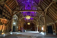 Controllable ceiling flood lighting at Rushall Farm Disco Lights, Canopy Lights, Mood Light, Paper Lanterns, Farm Wedding, Fairy Lights, Ceiling, Lighting, House Styles