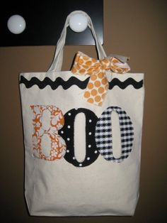 no sew trick or treat bag--canvas bag & use iron on fabric, letters, ribbons, buttons etc to decorate