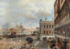 Oswald Achenbach (1827 - 1905) Blick auf die Piazetta mit der Biblioteca Marciana, Santa Maria della Salute und der Dogana, Öl auf Leinwand, 138,5 x 196 cm Schätzwert € 150.000 - 250.000