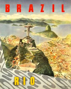 Original vintage travel poster for Brazil, Rio de Janeiro - Christ the Redeemer | From a unique collection of more prints at https://www.1stdibs.com/art/prints-works-on-paper/more-prints-works-on-paper/