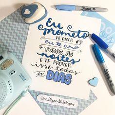 Feliz dia dos namorados, meninada! 💙✏️ Em especial para o meu maridinho! . Creative Gifts For Boyfriend, Boyfriend Gifts, Cute Birthday Gift, Diy Birthday, Love Gifts, Diy Gifts, Samara, Lettering Brush, Motivational Phrases
