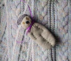 Lavender Filled Sachet Handmade Sock Doll OOAK Grey Cat Amber Eyes Heart Nose #Pedricks
